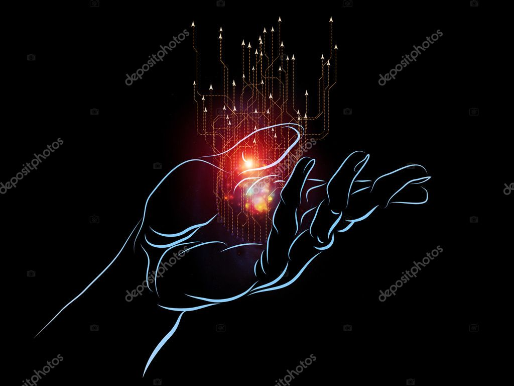 Composition of human hand and technological elements with metaphorical relationship to science, alternative energy and portable technologies — Stock Photo #12414300