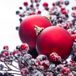 Two Christmas baubles and holly berries — Stock Photo