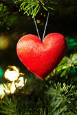 Red heart in Christmas tree — Stock Photo