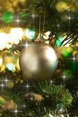 Decorative gold Christmas bauble — Stock Photo