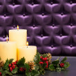Advent flower arrangement with burning candles — Stock Photo