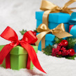 Stock Photo: Blue present with gold ribbon