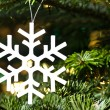 White artificial snowflake — Stock Photo