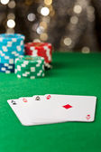 Four ace on a poker table — Stock Photo