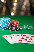 Straight flush in a poker game — Stock Photo