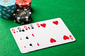 Three of a kind in poker — Stock Photo