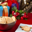 Christmas cookies, short bread in festive setting — Stok Fotoğraf #12117434