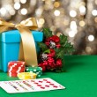 Royal straight flush in Christmas setting — Stock Photo