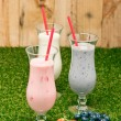 Stock Photo: Blueberry, Strawberry and Bananmilk shake