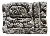 Mayan ruins, God face in stone Copan — Stock Photo