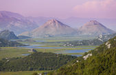Sunrise sky and river in the mountain cross the valley, monteneg — Stock Photo