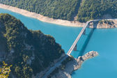 Bridge cross the blue river in mountains, Montenegro — Stock Photo
