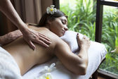Beautiful young woman relax in spa situation — Stock Photo