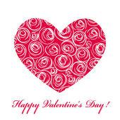 Kaart met hart en rozen — Stockvector