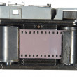 Very old classic camera, rear view, cover removed, the body is d — Stock Photo #11443875