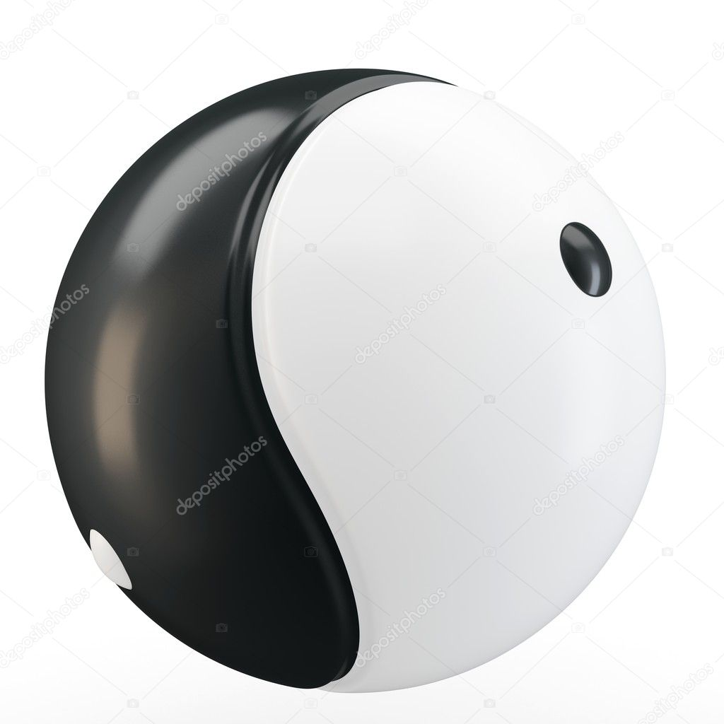 3d Ying yang symbol sphere on white background — Stock Photo #10916138