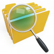 3d magnifying glass over yellow folders — Stock Photo
