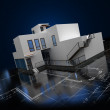3D house illustration with blueprint — Stock Photo