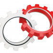 Royalty-Free Stock Photo: 3d red and white metallic gears