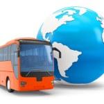 3d Bus travel around the globe — Stock Photo