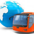 3d Bus travel around the globe — Stock Photo