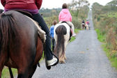 Pony trekking on a country road — Stock Photo