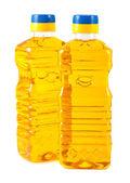 Vegetable oil in plastic bottles — Stock Photo