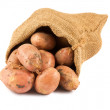 Fresh raw potatoes in burlap sack — Stock Photo #11953118