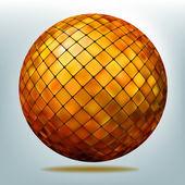 Golden disco ball. EPS 8 — Stock Vector