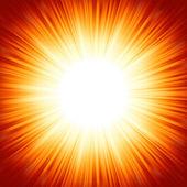 Scoppio chiaro del sole estate arancione rosso centrato. Eps 8 — Vettoriale Stock
