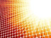 Red yelloe rays light 3D mosaic. EPS 8 — Stock Vector