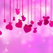 Valentine's Day with hearts on ribbons. EPS 8 — Stockvectorbeeld