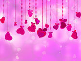Valentine's Day with hearts on ribbons. EPS 8 — Stockvektor