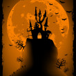 Scary halloween vector with magical abbey. EPS 8 — Vector de stock