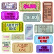 Stock Vector: Set of ticket admit one. EPS 8