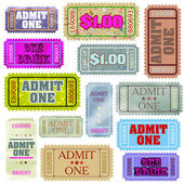 Set of ticket admit one. EPS 8 — Stock Vector