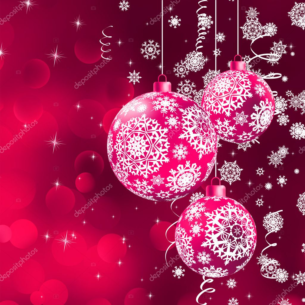 Christmas background with the purple balls. EPS 8 vector file included — Stock Vector #11841017