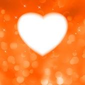 Orange bokeh valentine card. EPS 8 — Stock Vector