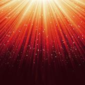 Snowflakes and stars on orange light. EPS 8 — Stock Vector