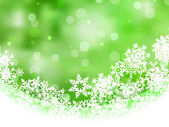 Green background with snowflakes. EPS 8 — Stock Vector
