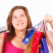 Beautiful young girl shopaholic — Stock Photo
