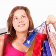 Stock Photo: Beautiful young girl shopaholic