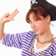 Pretty young girl in the pirate hat — Stock Photo