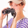Pretty young girl with binoculars — Stock Photo