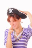 Funny young girl in the pirate hat — Stock Photo