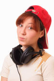 Attractive young girl with headphones — Stock Photo
