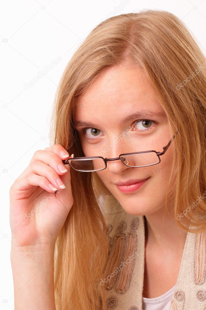 Beautiful and happy young student woman with glasses — Stock Photo #11632846