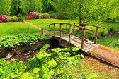 Güzel bir bahçe içinde eski ahşap köprü — Stok fotoğraf