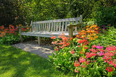 Wooden bench and bright blooming flowers — Stok fotoğraf