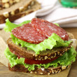 Sandwich with sausage salami, lettuce and tomato — Stock Photo